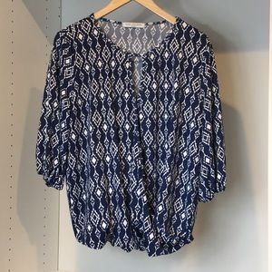 Blue and White Printed Top by Lilac Clothing, M
